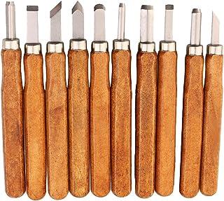 10 piezas Cinceles de Madera Mano Herramientas, Cuchillo de Talla Escultura de Cinceles Artesanal Conjunto para Principiante Escultura de Grabado en Madera Bricolaje