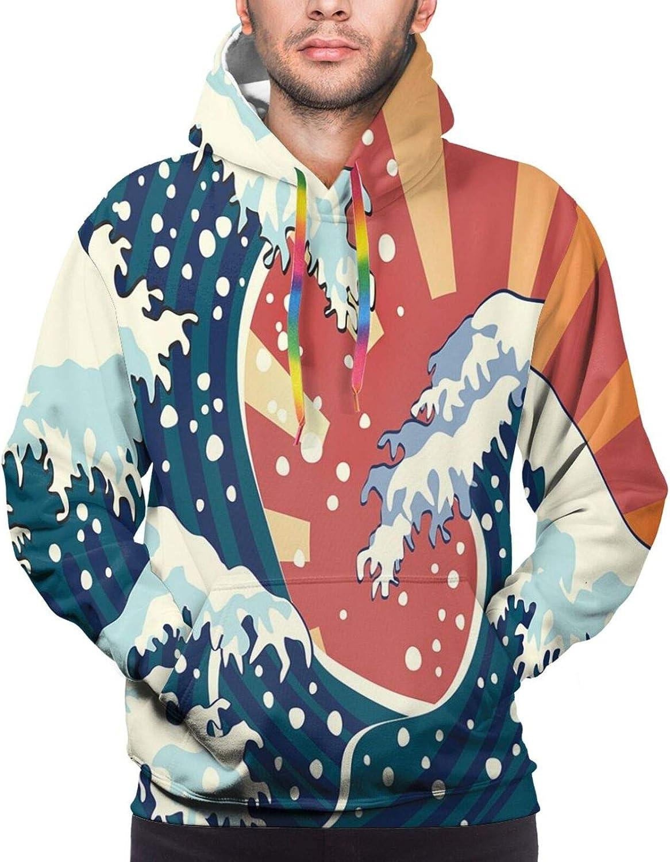 Men's Hoodies Sweatshirts,Japanese Painting Style Summer Seasonal Backdrop Surf Water Abstract Sunset