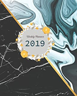 2019 Weekly Planner: Marble Cover, Weekly Organizer, Monthly Planner, January 2019 through December 2019 with Holiday