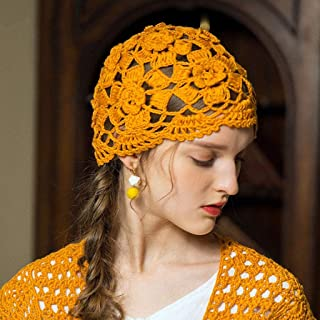TXOZ Ms. Knitted Hats, Hand-Woven Vintage Crochet Baotou Cap, Thin Section Breathable Knit Lace Scarves (Color : Yellow)