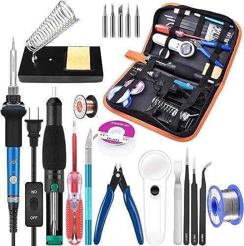 Soldering Iron Kit Electronics, 21-in-1, 60W Adjustable Temperature Soldering Iron, 5pcs Soldering Iron Tips, Solderi...