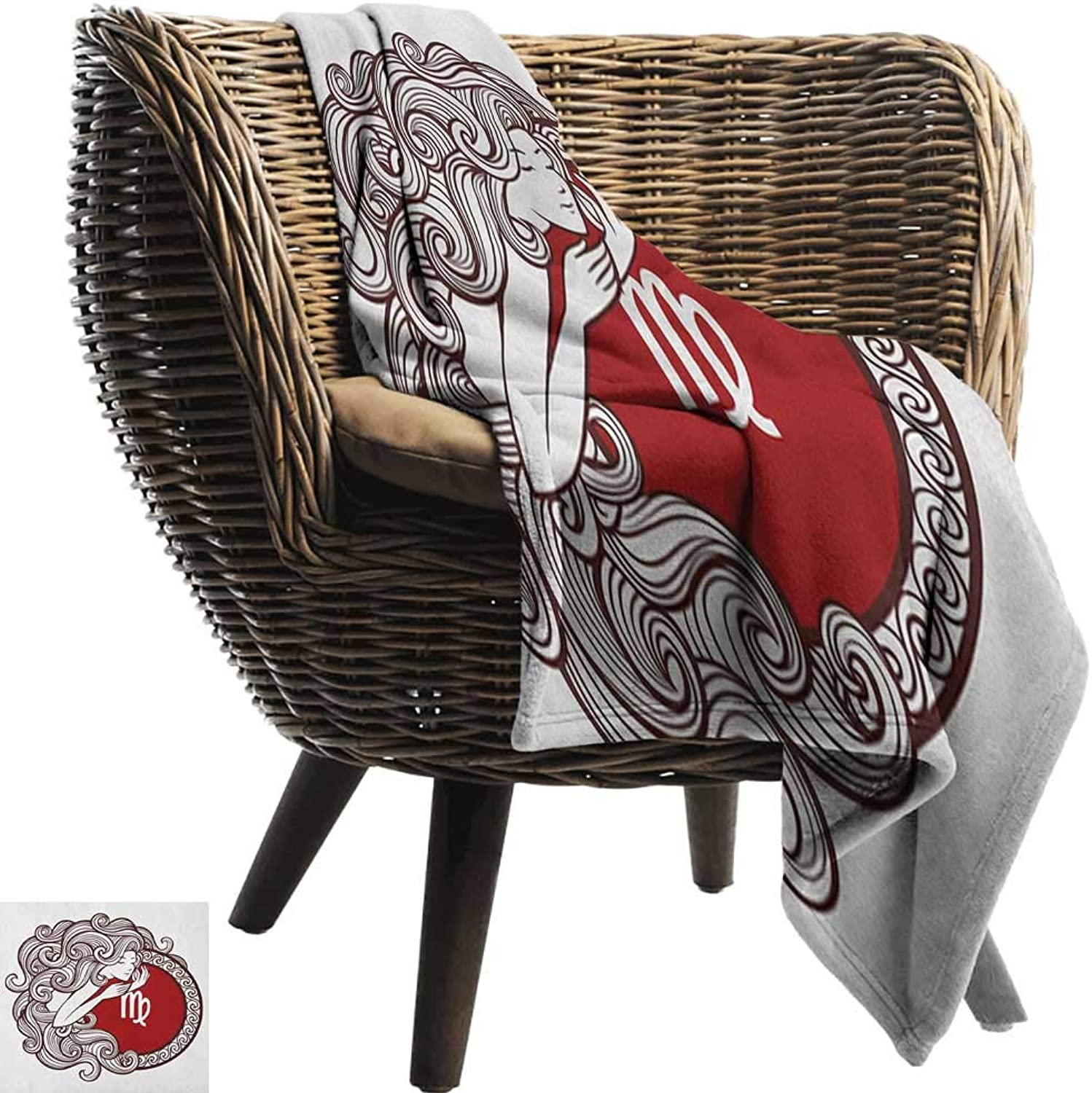 Warm Blanket Virgo Vibrant color Abstract Image Zodiac Sign Long Haired Girl with Symbol of Virgo Ultra Soft and Warm Hypoallergenic 50  Wx60 L