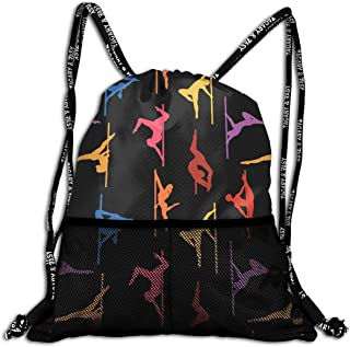 Hipiyoled Pole Dance Colors Durable Sport Drawstring Backpack for School Soccer Yoga