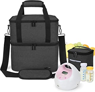 Luxja Breast Pump Bag with 2 Insulated Compartments for Breast Pump and Cooler Bag, Pumping Bag for Working Mothers (Fits ...
