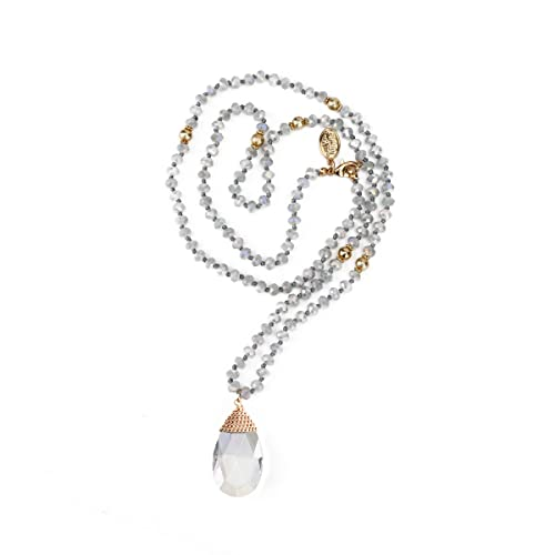 859a6b40141c Niumike Crystal Beads Long Necklaces with Statement Transparent  Pendant