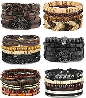 LOLIAS 24 Pcs Woven Leather Bracelet for Men Women Cool...