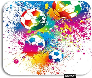 AOYEGO Football Mouse Pad Sports Passion Rainbow Color Soccer Balls Doodle Blot Polka Dot Gaming Mousepad Rubber Large Pad...