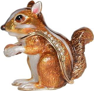 Jiaheyou Chipmunk Handmade Jeweled Metal Enamel Trinket Jewelry Box Animal Decoration Creative Gifts