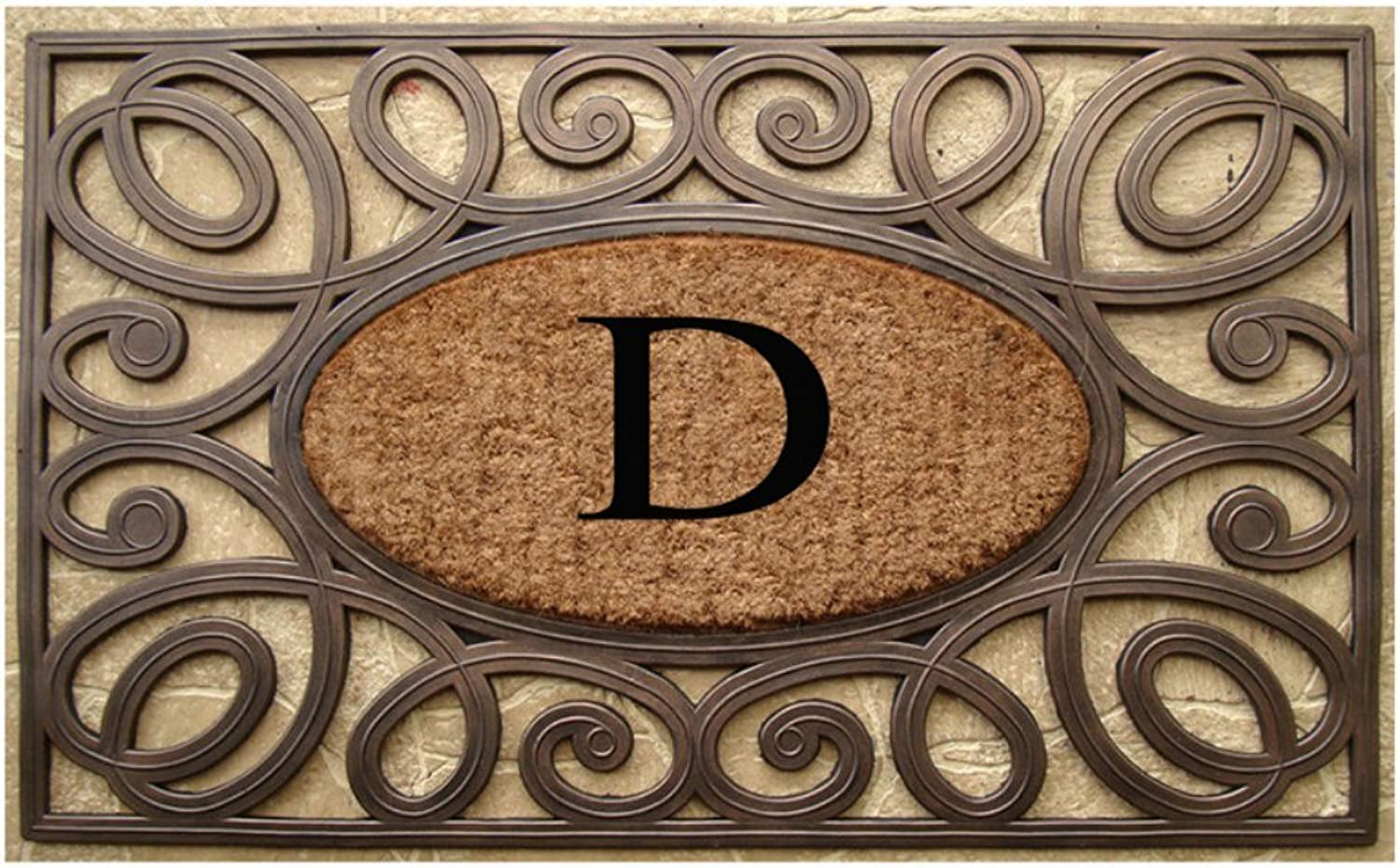 A1 HOME COLLECTIONS Rubber and Coir Elegant Circles Princess Large Doormat (23 X 38)-Monogrammed D(A1HOME200082-D)