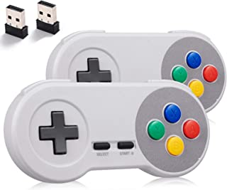 miadore 2Pack 2.4GHZ Wireless SNES Controller for Super SNES/NES Classic PC Games,Rechargeable USB Controller Wireless Gam...