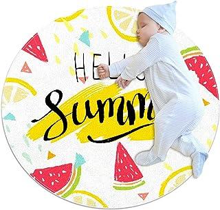 Soft Round Area Rug 100x100cm/39.4x39.4IN Anti-Slip Floor Circle Mats Absorbent Memory Sponge Standing Mat,Hello Summer Wa...