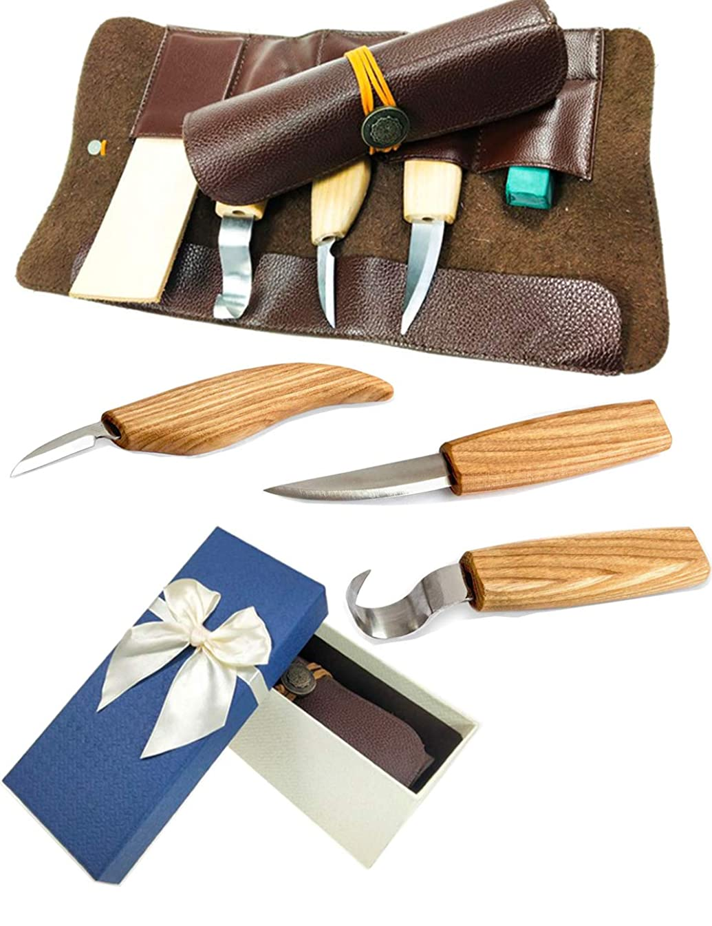 Wood Carving Tools Wood Carving Hook Knife Carving kit Set for Spoon Carving 3 Knives in Tools Roll Leather Strop and Polishing Compound Hook Sloyd Detail Knife Leather Cover case