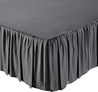 KP Linen Ruffled Bed Skirt Full Size (10 Inch Drop) Platform Dust Ruffle with 400 Thread Count Microfiber Wrinkle Free(Dark Grey Solid)