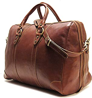 Roma Duffle Saddle Brown Italian Leather Weekender Travel Bag