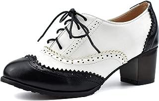 100FIXEO Women Block Heel Wingtip Oxford Shoes