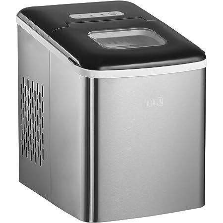 Machine à glaçon 120 W - capacité réservoir eau 1,8 L - capacité réservoir glace 0,8 Kg - pelle et panier inclus - PP acier gris noir