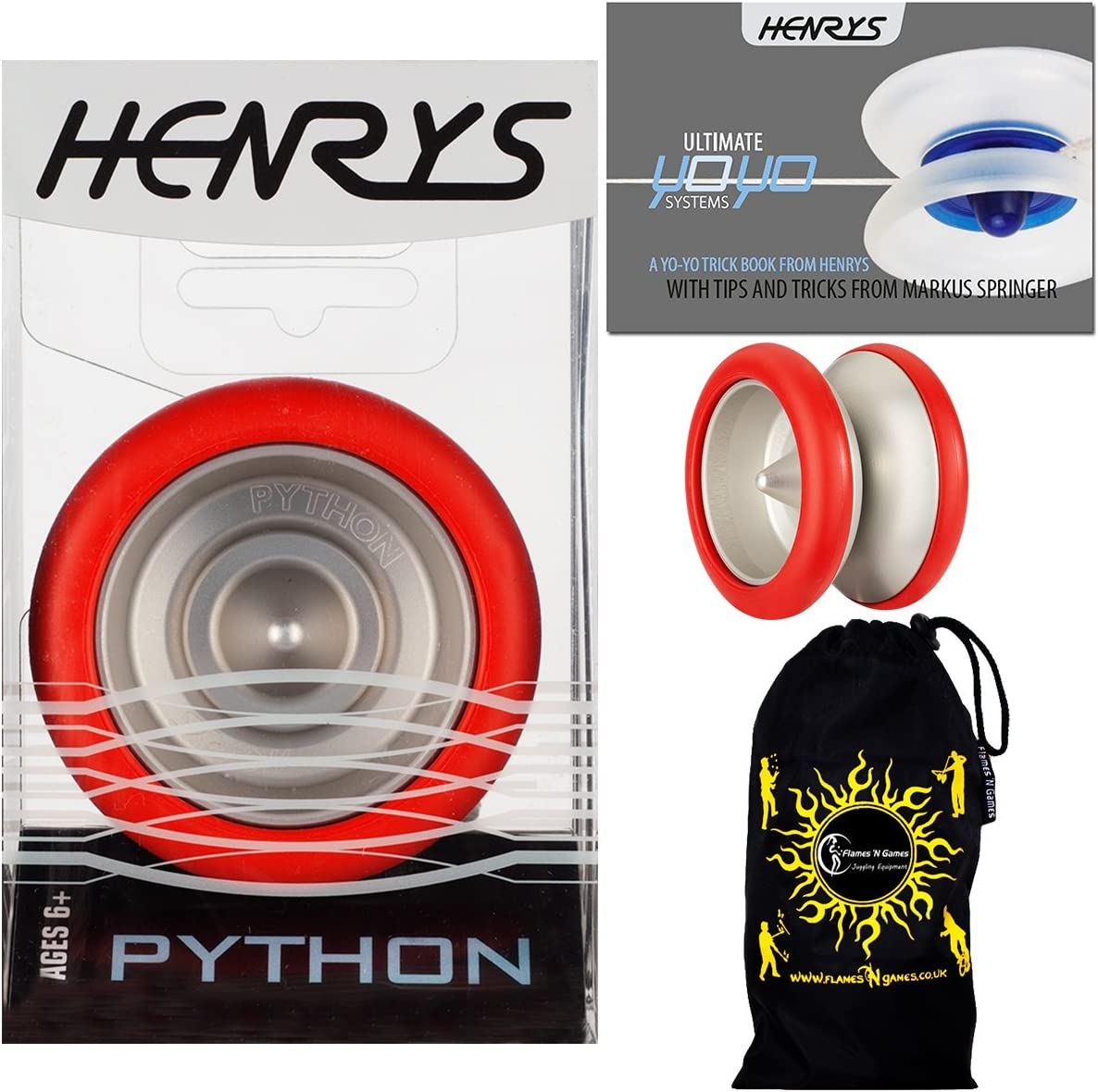 Henrys PYTHON Pro YoYo Red String Professional Trick Free Shipping Cheap Today's only Bargain Gift 1A Metal