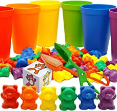 Skoolzy Rainbow Counting Bears with Matching Sorting Cups, Bear Counters, Bonus Scoop Tongs and Dice Math Toddler Games - Set of 70 Pieces