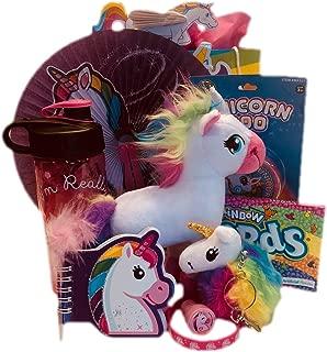 Unicorn and Rainbow Present Set: Unicorn Plush Stuffed Animal, Water Bottle, Unicorn Poo Putty, Toys, Candy, Crafts, and More. Perfect for Girls Age 6-12. 10 Piece Bundle.