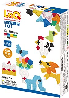 LaQ Basic 101 - 46 Models, 185 Pieces  Learning Construction Building Set   Made in Japan   Educational FIne Motor Skills ...