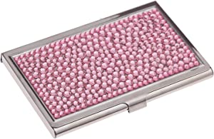 Purely Handmade Luxury Stainless Steel Compact Multi-Size Pink Bling Crystal Business Card Case Cute Rhinestone Travel Name ID Card Holder