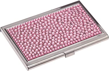 Purely Handmade Luxury Stainless Steel Compact Multi-Size Pink Bling Crystal Business Card Case Cute Rhinestone Travel Name I