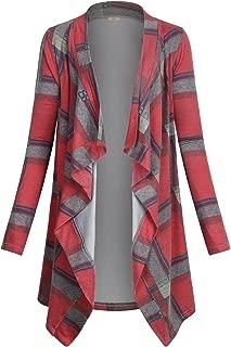 Women's Casual Plaid Print Sweater Long Sleeve Drape Open Front Knit Cardigan