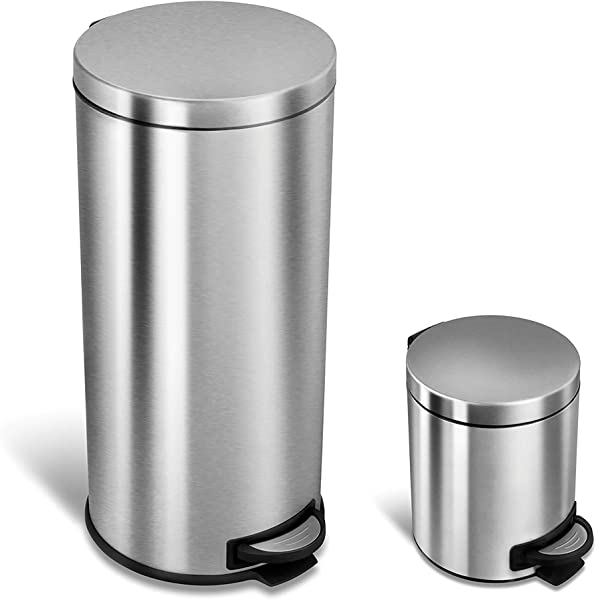 NINESTARS CB SOT 30 1 5 1 Step On Trash Can Combo Set 8 Gal 30L 1 2 Gal 5L Stainless Steel Base Round Stainless Steel Lid