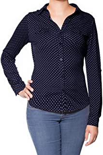 Design by Olivia Women's Checkered Plaid Roll Up Sleeve Stretch Knit Button Down Shirt