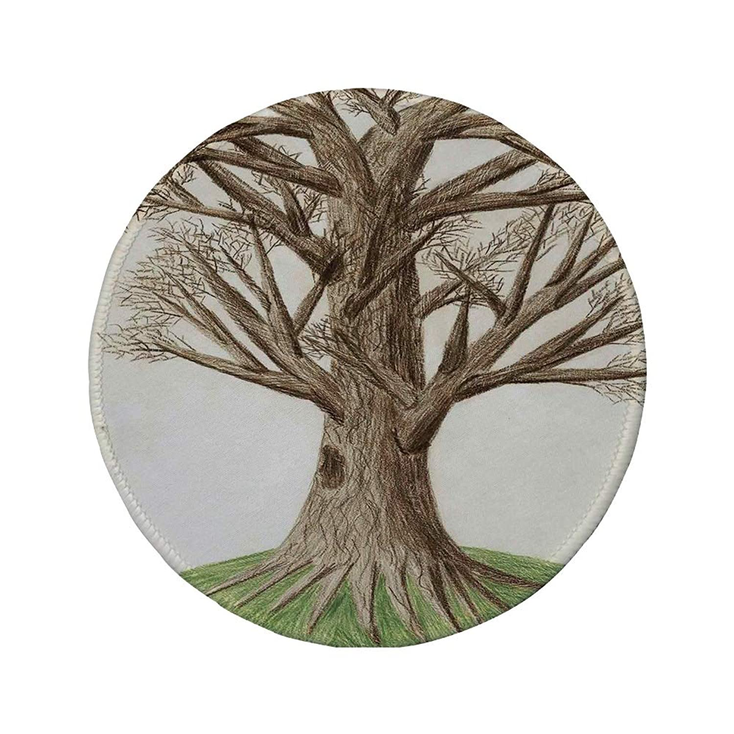 Non-Slip Rubber Round Mouse Pad,Tree of Life,Artsy Hand Drawn Pastoral Single OldTree with Growing Branches on The Grass Decor,Green Brown,7.87