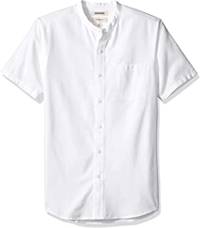 Amazon Brand - Goodthreads Men's Slim-Fit Short-Sleeve Band-Collar Oxford Shirt