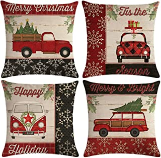 ULOVE LOVE YOURSELF Farmhouse Christmas Throw Pillow Covers with Red Truck Car/Xmas Tree Happy Holiday Home Decorative Cushion Cover Pillowcase 18x18 Inches,4Pack