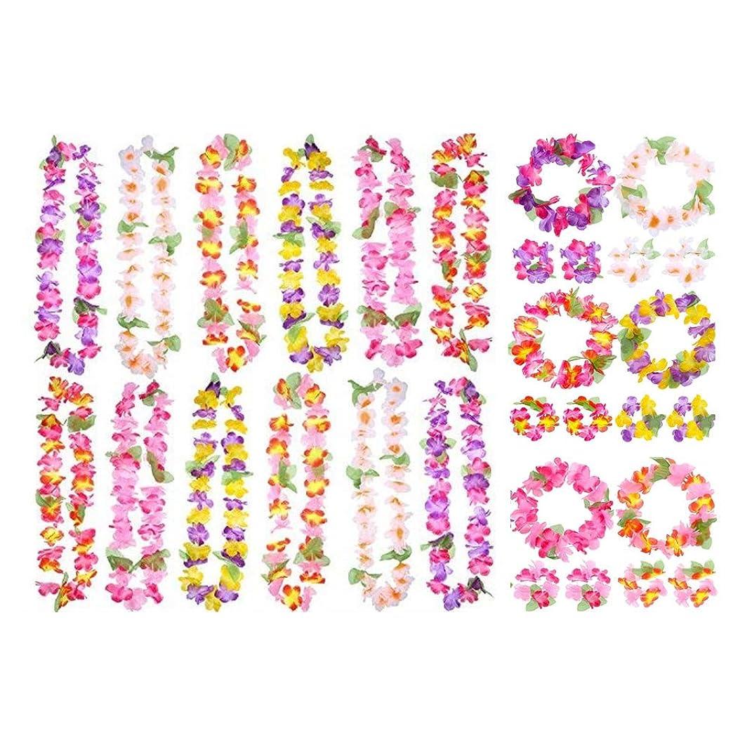 結婚した生産的人口花冠 ヘア花輪 ハワイ 衣装アクセサリー ガーランド ビーチフラ パーティー用 ハワイアンガーランドセット