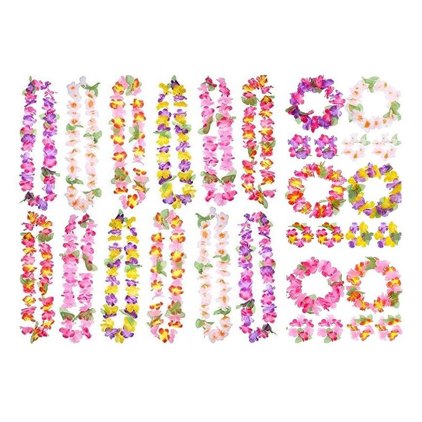 実際に快適実際に花冠 ヘア花輪 ハワイ 衣装アクセサリー ガーランド ビーチフラ パーティー用 ハワイアンガーランドセット
