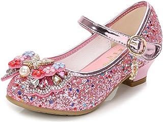 Zapatos de Tacón de Niña Disfraz de Princesa Zapatos Brillar Lentejuelas Zapatillas de Baile