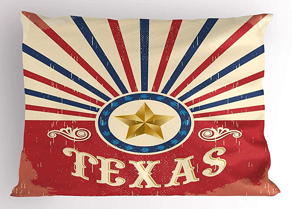 短くする病的床Texas Pillow Sham, Texas Vintage Western Cowboy Style Sunburst and Star with Grunge Effects, Decorative Standard Queen Size Printed Pillowcase, 30 X 20 Inches, Navy Blue Red Cream