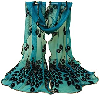 Scarf,Han Shi Women Peacock Flower Long Soft Wrap Shawl Embroidered Lace Shawl Wraps