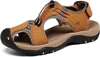 Sandales de Marche Homme Cuir Chaussure Plage Bout Été Respirant Randonnée Fermé Ouvert Trekking Fisherman Leather