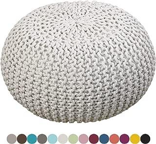 Puff Taburete de Punto Blanco Lino diámetro 55 cm, Altura