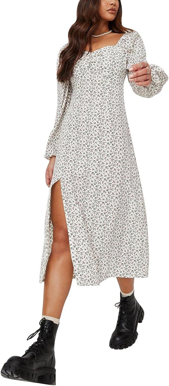 Linsery Women's Boho Floral Puff Long Sleeve High Slit Off Shoulder Cottagecore Dress Midi Dresses