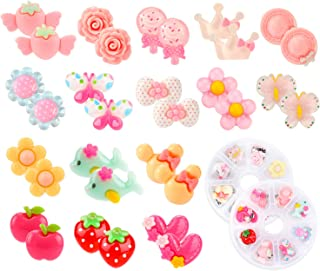 Hifot 16 Pairs Clip on Earrings Girls, No Pierced Design Earrings Dress up Pretend Princess Play Jewelry Accessories for Kids
