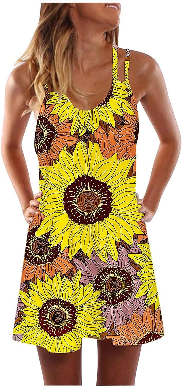 Women's Mini Dress Sexy V-Neck Sleeveless Hollow Out Slim Sunflower Print Loose Dress Summer Fashion Casual Dress