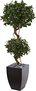 Nearly Natural Artificial Wash 4.5' Sweet Bay Double Topiary Tree, Black Planter, Green