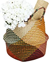 ABAO UNCLE Natural Seagrass Basket - BESTCHANCEUS Seagrass Belly Basket with Handles Handmade Foldable Tote Basket for Storage,Laundry, Picnic, Plant Pot Cover, and Beach Bag Colorful 32x28CM