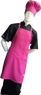 Chefskin Hot Pink Fuchsia Adult Chef Set (Apron+hat) Adjustable, Ultra Lite Fabric