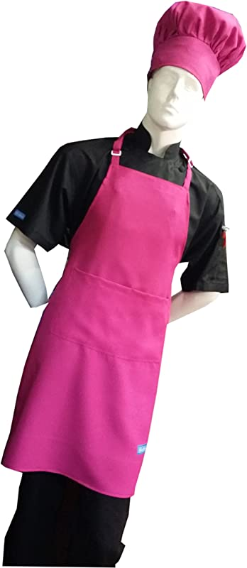 CHEFSKIN Original Lite Chef Apron HAT For Adults In HOT Pink Color Fully Adjustable Adult Fits Most