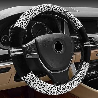 FrohLila Universal Auto Warm Plüsch Lenkradbezug Lenkradhülle 38CM / 15'' Lenkradabdeckung Lenkradschoner Leopard Muster Winter Schutz für Damen & Mädchen, Schwarz & Weiss