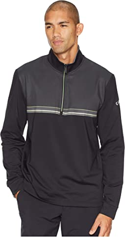 1/4 Zip Lightweight Fleece Pullover w/ Linear Print