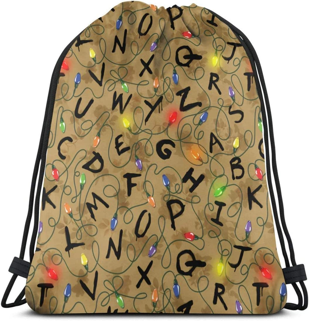 Women Stranger-Things Drawstring Backpack Resistant Manufacturer direct delivery Gym Ultra-Cheap Deals Water St