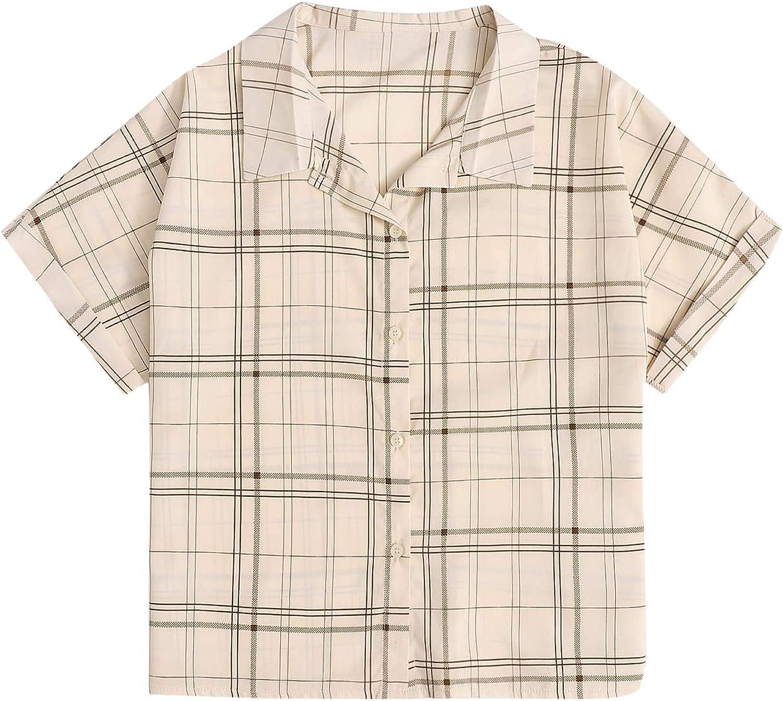 Verdusa Women's Plaid Print Roll Up Short Sleeve Collar Button Up Blouse Top